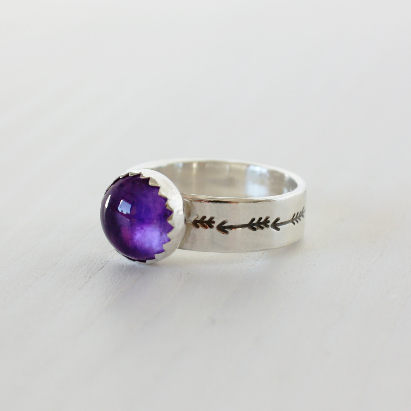 Amethyst arrow sterling silver ring