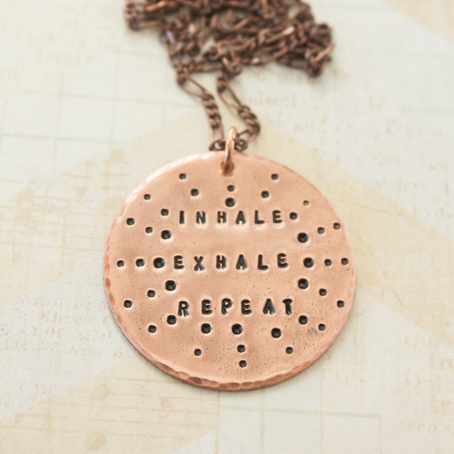 Inhale exhale repeat Copper necklace