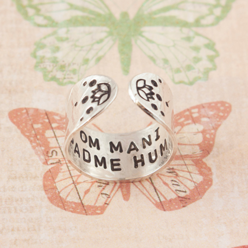 Om mani padme hum Sterling silver cuff ring