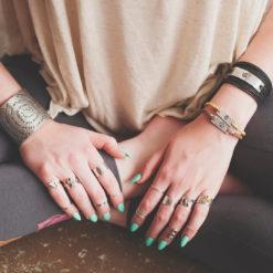 OM and Mangala mantra Wrap bracelet