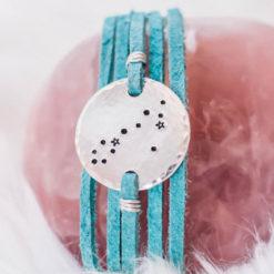 Pisces constellation leather wrap bracelet