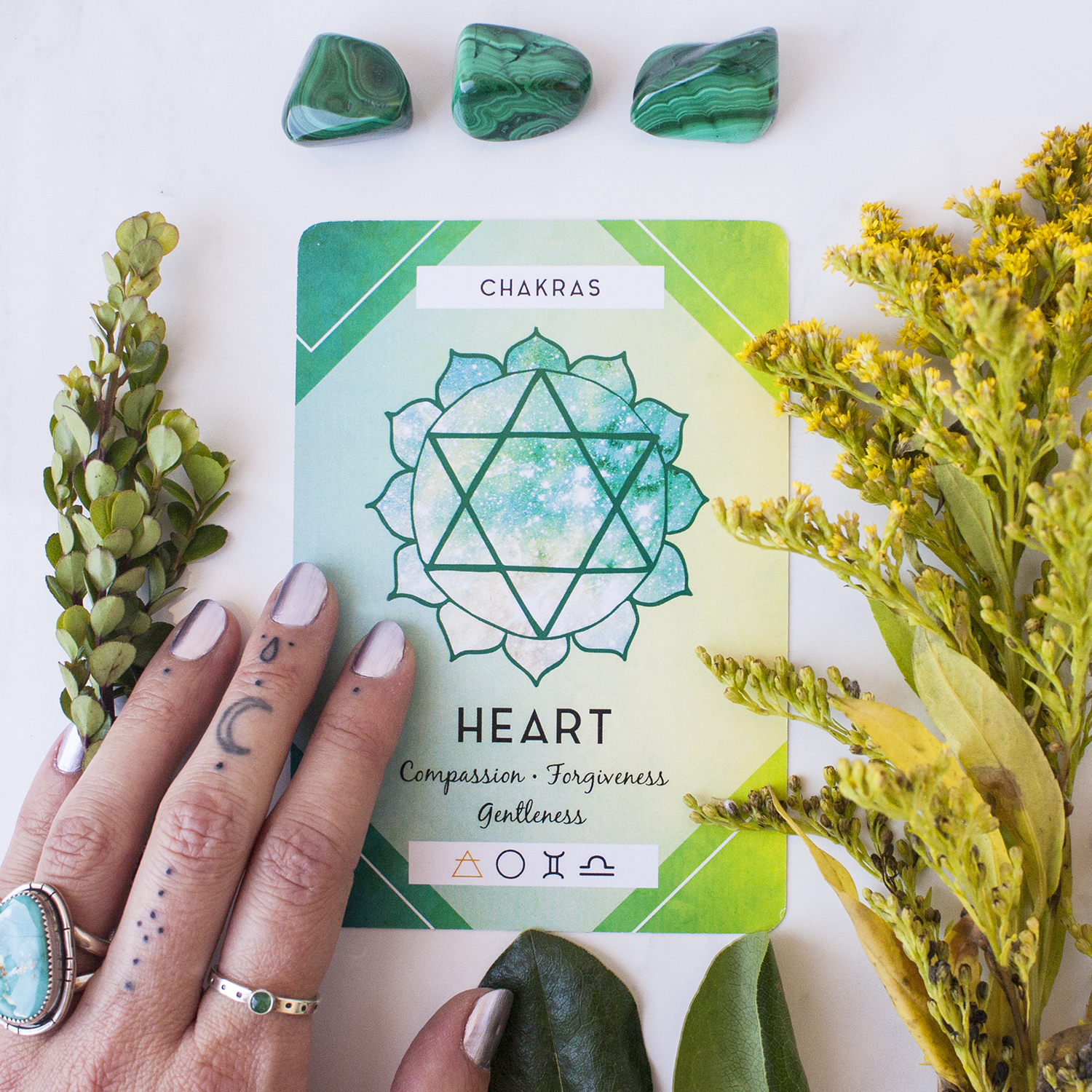 Heart chakra card featured from The Ritual Deck.